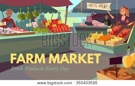 Farm Market Web Banner Flat Vector Template. Farmers Selling Organic Fruits And Vegetables. Stalls W