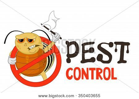Funny Vector Illustration Of Pest Control Logo For Fumigation Business. Comic Locked Colorado Potato
