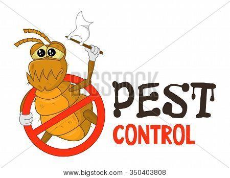 Funny Vector Illustration Of Pest Control Logo For Fumigation Business. Comic Locked Flea. Design Fo