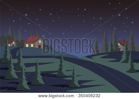 Countryside At Night Flat Vector Illustration. Evening Suburban Landscape, Empty Street With Residen