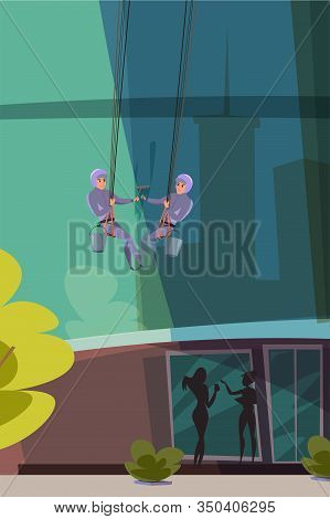 Window Washing Service Flat Vector Illustration. Professional Cleaner Cartoon Character. Man In Unif