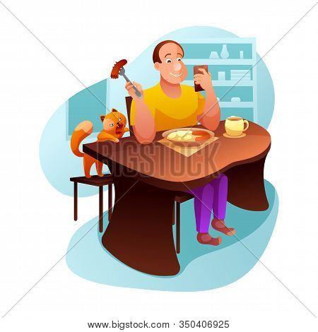 Breakfast With Cat Flat Vector Illustration. Inattentive Man Eating Lunch Cartoon Character. Pet Own