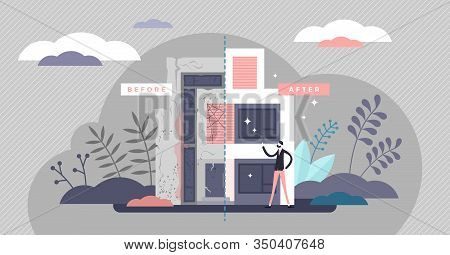 Flipping Houses Concept, Flat Tiny Person Vector Illustration. Renovating Apartment Or Dwelling Hous