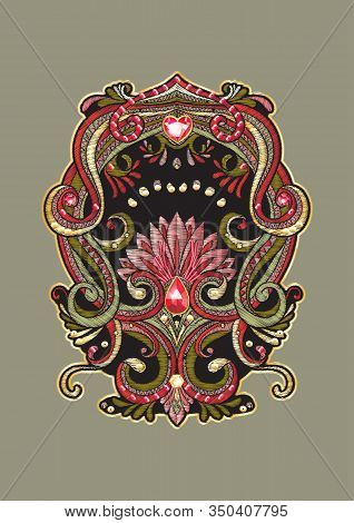 Patch Embroidery Imitation. Decorative Motif In Retro, Vintage, Jacobean Embroidery Style. Vector Il