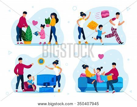 Happy Family Home Leisure And Relax Trendy Flat Vector Concepts Set. Parents With Children Fooling A
