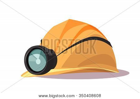 Helmet With Flashlight Flat Vector Illustration. Building, Construction Protective Item. Safety Equi