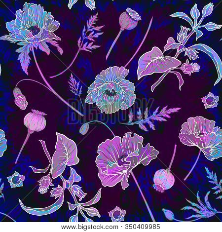 Seamless Pattern, Background With Miraculous, Hallucinogenic Plants In Botanical Style In Neon Color