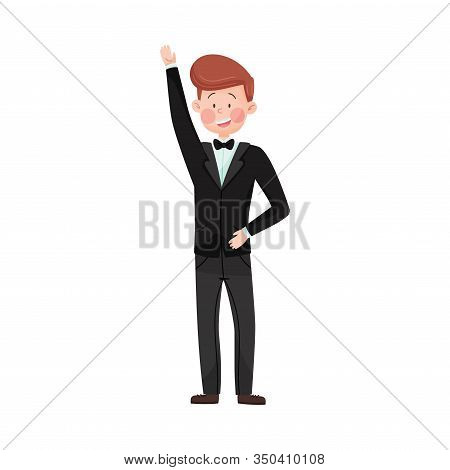 Young Smiling Man Wearing Evening Wear Waving Hand At Red Carpet Event Vector Illustration