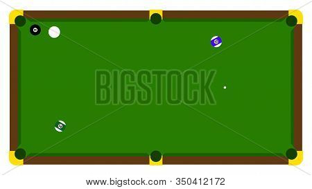 Realistic Illustration With Pool Billiard On Green Table. Pool Billiards Tournament Announcement Pos
