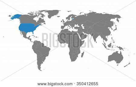 Estonia, Usa Map On World Political Map. Gray Background. Perfect For Business Concepts, Backgrounds