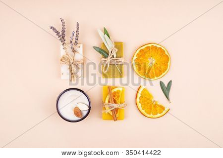 Organic Natural Set Made Of Olive, Lavender And Orange Pieces Of Soap, Almond Oil Cream And Dried He