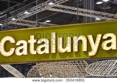 Neon Lights With Catalunya Text. Travel And Tourism In Spain