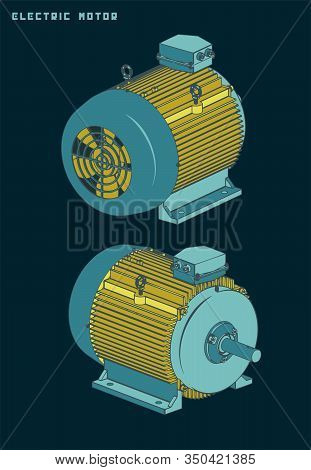 Vector Illustrations Of A Standard Electric Motor For Machine Tools