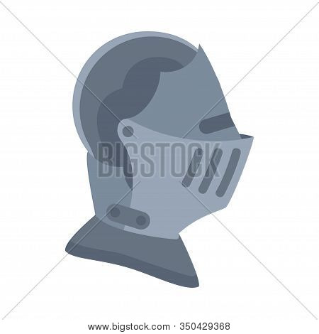 Cartoon Gray Historycal Helmet. Medieval Festival Props. Fairy Tale Theme Vector Illustration For Ic