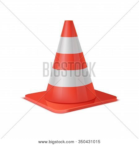 Realistic Vector Plastic Red Road Cone. White Striped Traffic Cones Isolated On White Background