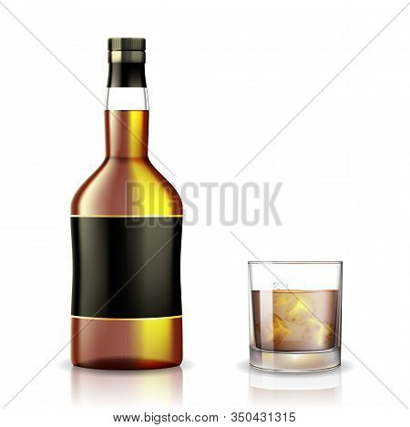 Set Of Whiskey, Rum, Bourbon Or Cognac Glasses And Bottle With Alcohol Mockup. Realistic Transparent