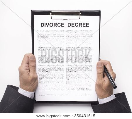 Relationship Crisis, Breakup. Husband Holding Divorce Decree Documents, White Background