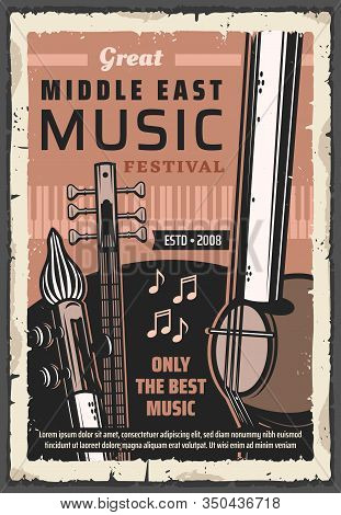 Folk Musical Instruments Of Middle East Music Vector Poster Of Ethnic Festival, Concert And Live Fes