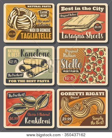 Pasta And Macaroni Vector Design With Italian Food Of Cannelloni Tubes, Tagliatele And Conchiglie, L