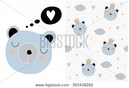 Lovely Vector Illustratio And Pattern With Cute Baby Bear, Clouds And Hearts. Simple Hand Drawn Blue