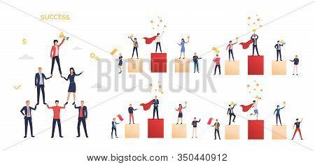 Winning Prize Set. Competitors Or Team Standing On Pedestal And Holding Awards. Flat Vector Illustra