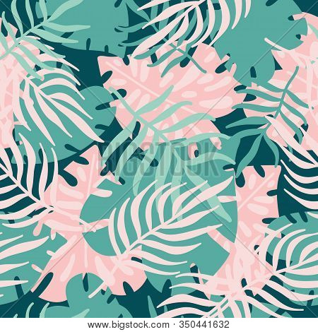 Abstract Seamless Pattern With Tropical Green And Pink Leaves. Tropical Palm Leaves, Jungle Leaf. Sc