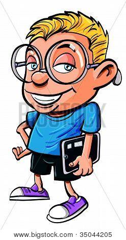 Cartoon cute nerd