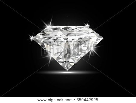 Vector Dazzling Diamond On Black Shining Background. Concept For Chossing Best Diamond Gem Design. R