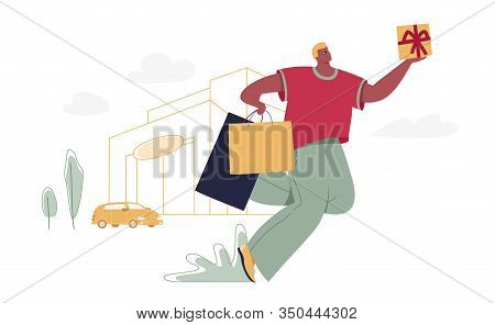 Man With Shopping Bags And Gift Box. Modern Male Funny Character Design Over The Mall And Car Linear