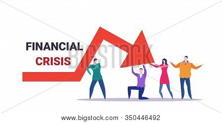 Businesspeople Team Frustrated About Economic Arrow Falling Down Financial Crisis Bankrupt Investmen
