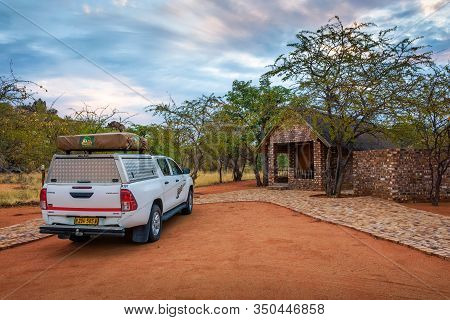 Kamanjab, Namibia - March 30, 2019 : Typical 4x4 Rental Car In Namibia Equipped With Camping Gear An