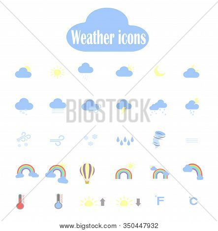 Big Vector Set Of Weather Forecast Flat Icons. Web Icons For The Application - Weather Forecast.  We