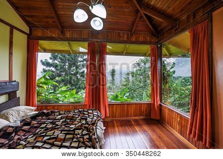 Vara Blanca, Costa Rica - January 13, 2020 : Interior Of A Room In Volcan Poas Tiquicia Lodge, A Thr