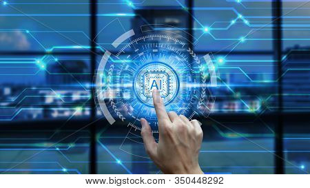 Hand Touch Artificial Intelligence (ai) Technology Icon Over The Network Connection, Artificial Inte