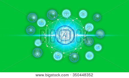 Artificial Intelligence (ai) Technology Icon Over The Network Connection On A Green Screen Backgroun