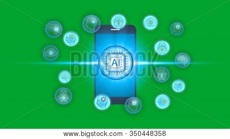 Smartphone With Artificial Intelligence (ai) Technology Icon Over The Network Connection, Artificial