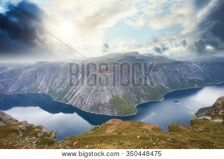 Amazing Summer View Of Trolltunga The Trolls Tongue In Odda Ringedalsvatnet Lake, Norway Beautiful L