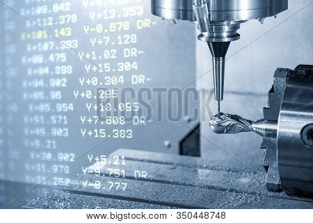 The Abstract Scene Of 4-axis Cnc Milling Machine  Cutting The Sample  Parts By Solid Ball Endmill To