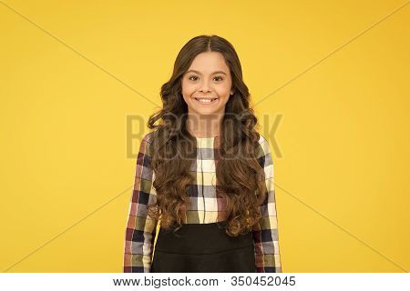 Adding Colors To The Child Dream. Happy Child On Yellow Background. Cute Little Child Wear Formal Sc