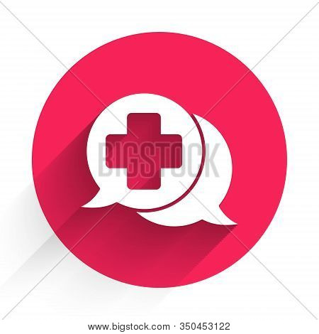 White Dialogue With The Doctor Icon Isolated With Long Shadow. Doctor And Patient Dialog. Consulting