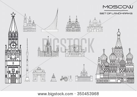 Set Of Vector Line Art Illustration Of Landmarks Of Moscow, Russia. Moscow City Monochrome Vector Il