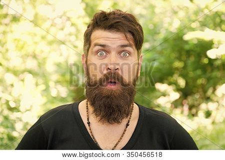 Feeling Good Fabulous Mustache. Bearded Man With Stylish Mustache Shape. Brutal Hipster With Texture