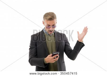 Got Sms. Businessman Read Sms In Smartphone Isolated On White. Sms Messaging. Short Message Service.