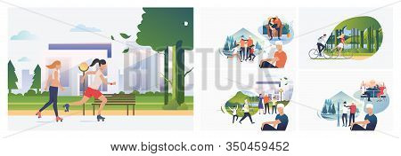 Set Of Young Man Thinking About Vacation With Family. Flat Vector Illustrations Of Cartoon Character