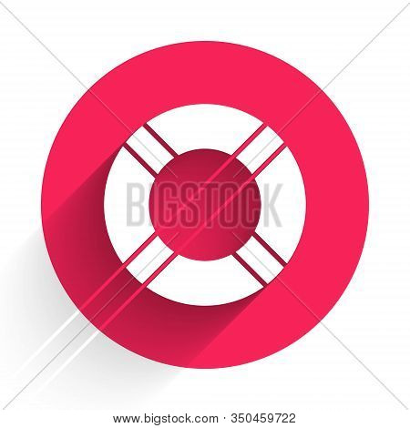 White Lifebuoy Icon Isolated With Long Shadow. Life Saving Floating Lifebuoy For Beach, Rescue Belt