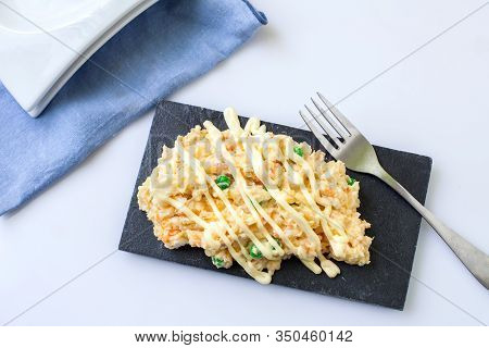 Homemade Potato Salad With Mayonnaise And Green Peas