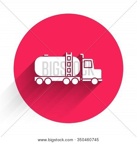 White Tanker Truck Icon Isolated With Long Shadow. Petroleum Tanker, Petrol Truck, Cistern, Oil Trai