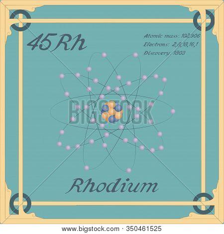 Periodic Table Element. Rhodium Colorful Icon. Vector.