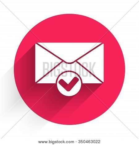 White Envelope And Check Mark Icon Isolated With Long Shadow. Successful E-mail Delivery, Email Deli