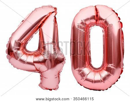 Number 40 Forty Made Of Rose Golden Inflatable Balloons Isolated On White. Helium Balloons, Pink Foi